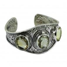 Trendy 925 Sterling Silver Citrine Gemstone Bangle