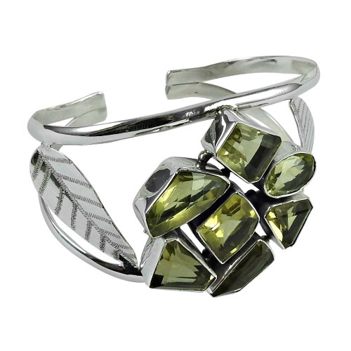 Charming 925 Sterling Silver Lemon Quartz Gemstone Bangle