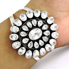 Eye Catching White CZ Gemstone Sterling Silver Bangle Jewellery
