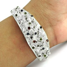 Charming Garnet, Amethyst, Citrine, Peridot Gemstone Sterling Silver Bangle Jewellery
