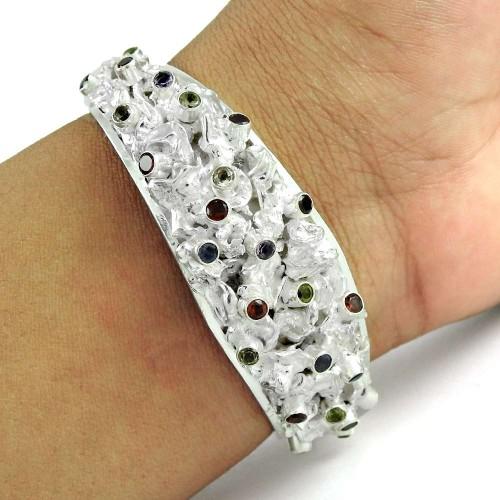 Charming Garnet, Amethyst, Citrine, Peridot Gemstone Sterling Silver Bangle Jewellery