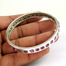 Easeful Pink Quartz Gemstone Sterling Silver Bangle Jewellery