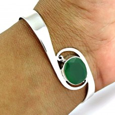 Good Fortune Green Onyx Gemstone Sterling Silver Bangle Jewellery