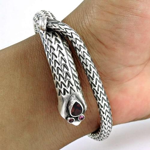 Secret Design!! Garnet Sterling Silver Bangle