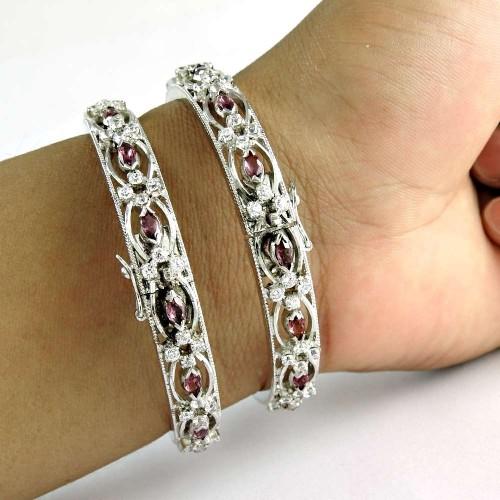Captivating 925 Sterling Silver Ruby CZ Gemstone Bangle Wholesale