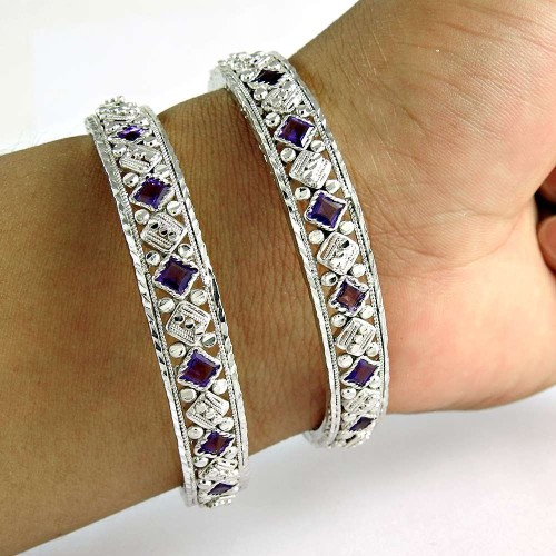Antique Look 925 Sterling Silver Amethyst Gemstone Bangle