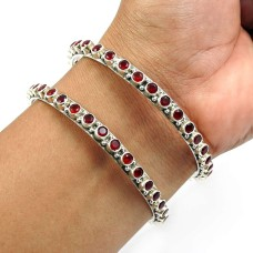 Ruby Gemstone Bangle 925 Sterling Silver Vintage Jewelry W4