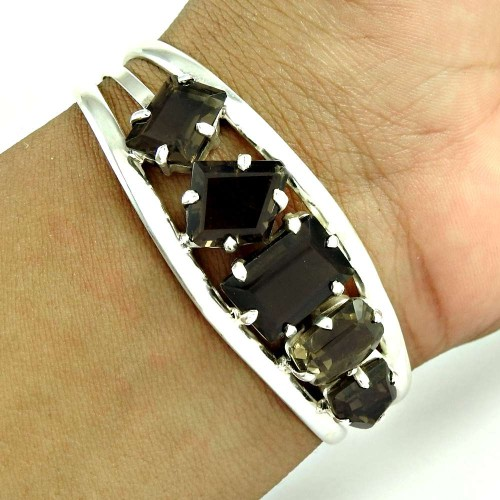 New Design ! Smoky Quartz 925 Sterling Silver Bangle