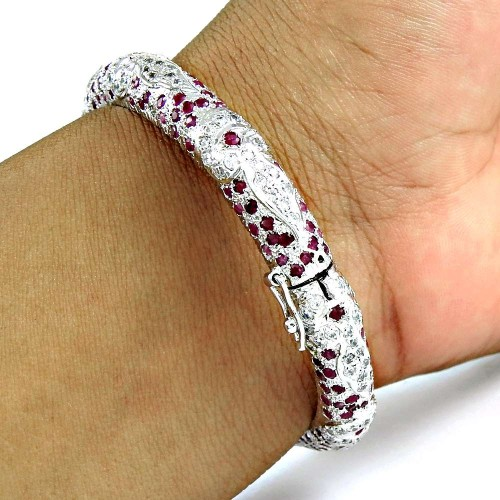 A Secret! Ruby, White CZ 925 Sterling Silver Bangle