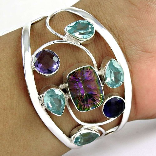 All Of Us! Mystic, Blue Topaz 925 Sterling Silver Bangle