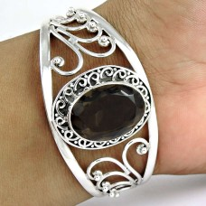Before Time! Smoky Quartz 925 Sterling Silver Bangle