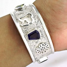 Big Dreamer! Amethyst, Lemon Topaz, Smoky Quartz 925 Sterling Silver Bangle