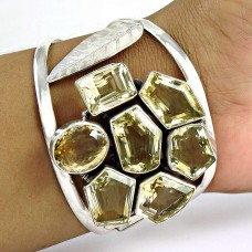 Big Excellent! Citrine 925 Sterling Silver Bangle