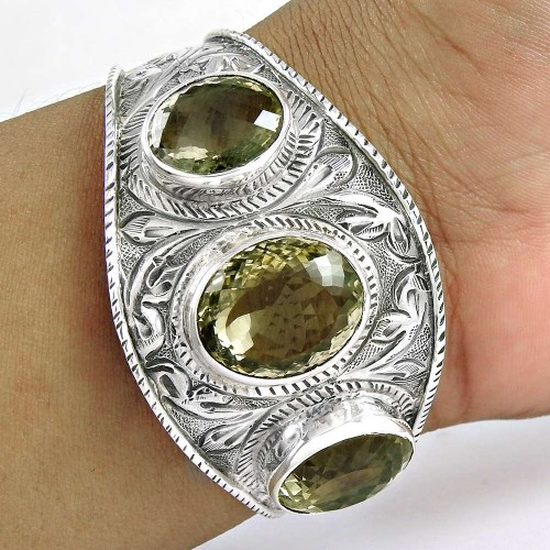 Big Relief Stone! Lemon Topaz 925 Sterling Silver Bangle