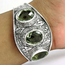 Billowing Clouds! Green Amethyst 925 Sterling Silver Bangle