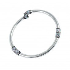 A Secret Inlay 925 Sterling Silver Bangle