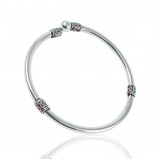 Vintage Fashion Inlay 925 Sterling Silver Bangle