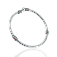 Breath of Love Inlay 925 Sterling Silver Bangle