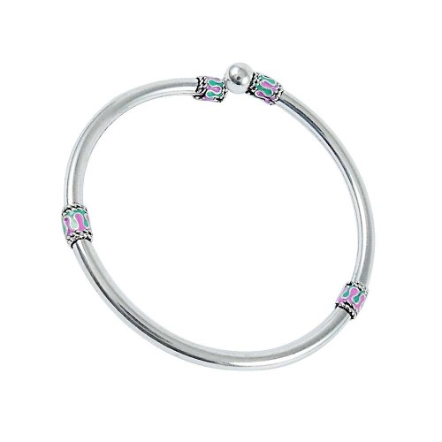 Captivating Inlay 925 Sterling Silver Bangle