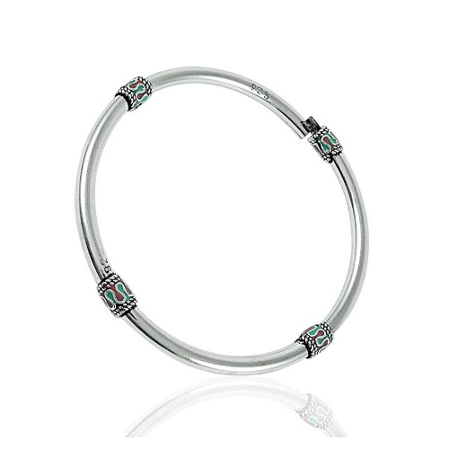 Charming Inlay 925 Sterling Silver Bangle