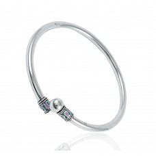 Good Fortune Inlay 925 Sterling Silver Bangle