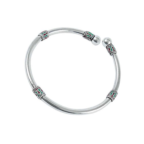 Quality Work Inlay 925 Sterling Silver Bangle