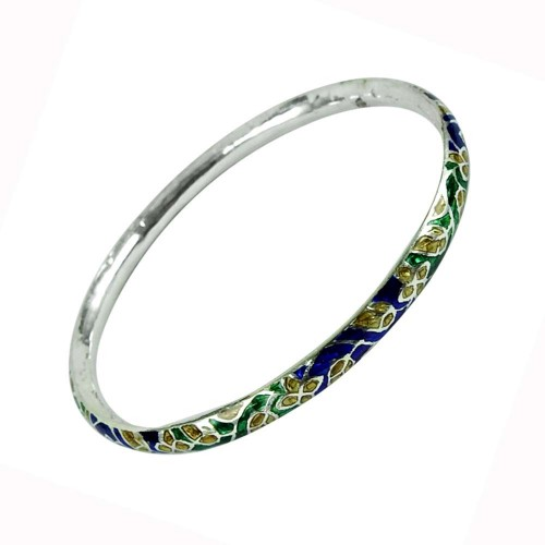Indian Sterling Silver Jewellery Lovely Inlay Bangle