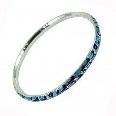 925 Silver Handmade Jewellery Graceful Inlay Bangle