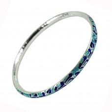 925 Silver Handmade Jewellery Graceful Inlay Bangle