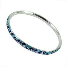 Solid 925 Sterling Silver Jewellery Stunning Inlay Handmade Bangle