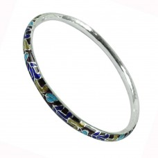 925 Sterling Silver Fashion Jewellery Lustrous Inlay Bangle