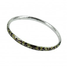 925 Sterling Silver Antique Jewellery Good-Looking Inlay Bangle