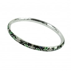 Indian Sterling Silver Jewellery Sightly Inlay Bangle