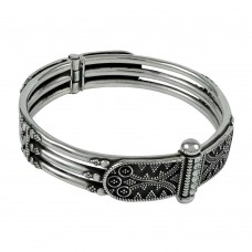 Personable 925 Sterling Silver Bangle Oxidised Sterling Silver Jewellery