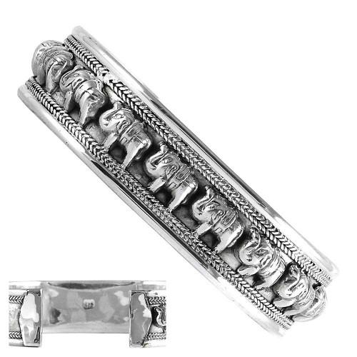Elephant Design Solid 925 Sterling Silver Bangle
