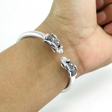 Beautiful Elephant Mouth 925 Sterling Silver Cuff Bangle Woman Jewelry