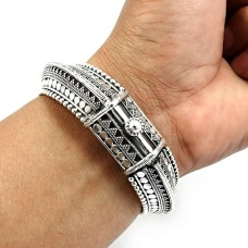 Artisan Bangle 925 Solid Sterling Silver HANDMADE Indian Jewelry F1