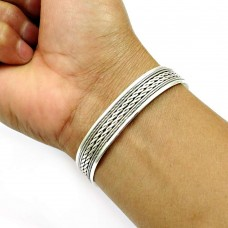 925 Sterling Silver Cuff Bangle Indian Traditional Jewelry B2
