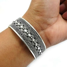 Solid 925 Sterling Oxidized Silver Bangle Indian Handmade Jewelry Y5