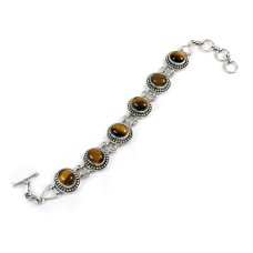 Engaging Tiger Eye Gemstone Sterling Silver Bracelet 925 Sterling Silver Jewellery
