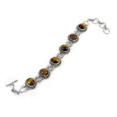 Engaging Tiger Eye Gemstone Sterling Silver Bracelet 925 Sterling Silver Jewellery
