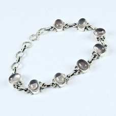Sterling Silver Jewelry Fashion Rose Quartz Gemstone Bracelet