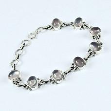 Sterling Silver Jewelry Fashion Rose Quartz Gemstone Bracelet
