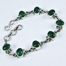 925 Silver Jewelry Ethnic Green Onyx Gemstone Bracelet