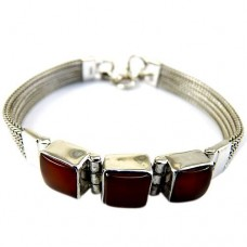 925 Sterling Silver Fashion Jewelry Beautiful Carnelian Gemstone Bracelet