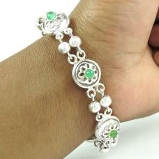 Trendy Green Onyx Gemstone Sterling Silver Bracelet 925 Sterling Silver Jewellery