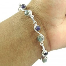 925 Sterling Silver Vintage Jewelry High Polish Labradorite, Amethyst Gemstone Bracelet