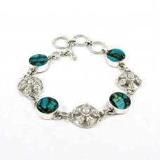 Fashion Blue Copper Turquoise, Pearl Gemstone Sterling Silver Bracelet 925 Sterling Silver Antique Jewellery