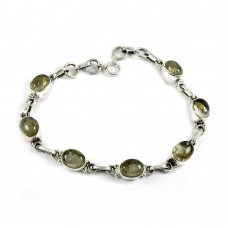 Designer Golden Rutile Gemstone Sterling Silver Bracelet 925 Sterling Silver Indian Jewellery