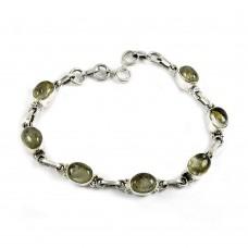 Designer Golden Rutile Gemstone Sterling Silver Bracelet 925 Sterling Silver Indian Jewellery